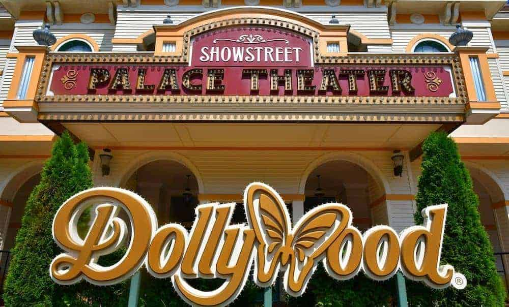 dollywood sign in front of showstreet theater