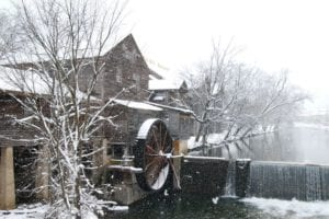 snow at the old mill in pigeon forge