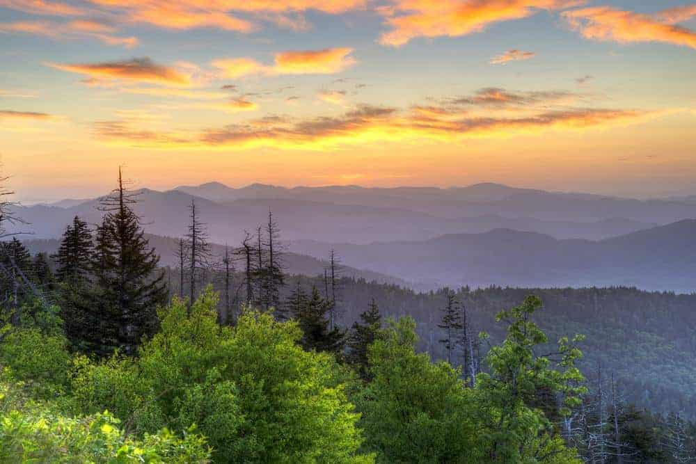 view of the smoky mountains at sunrise