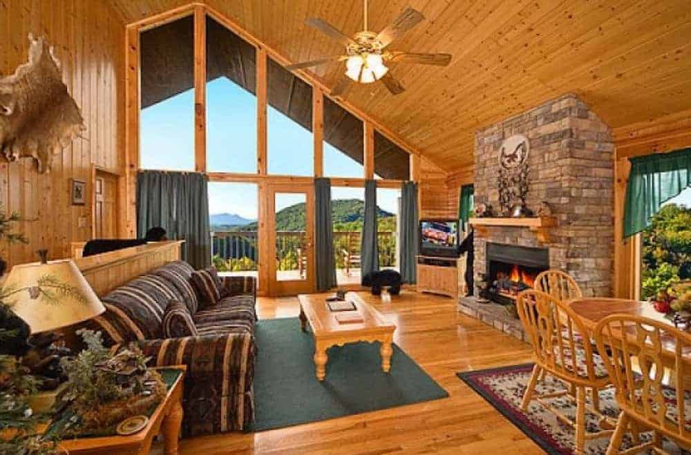 living room inside a Pigeon Forge Cabin