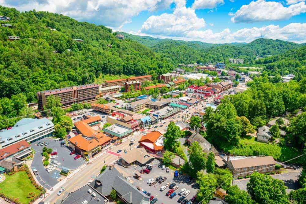 aerial view of downtown Gatlinburg