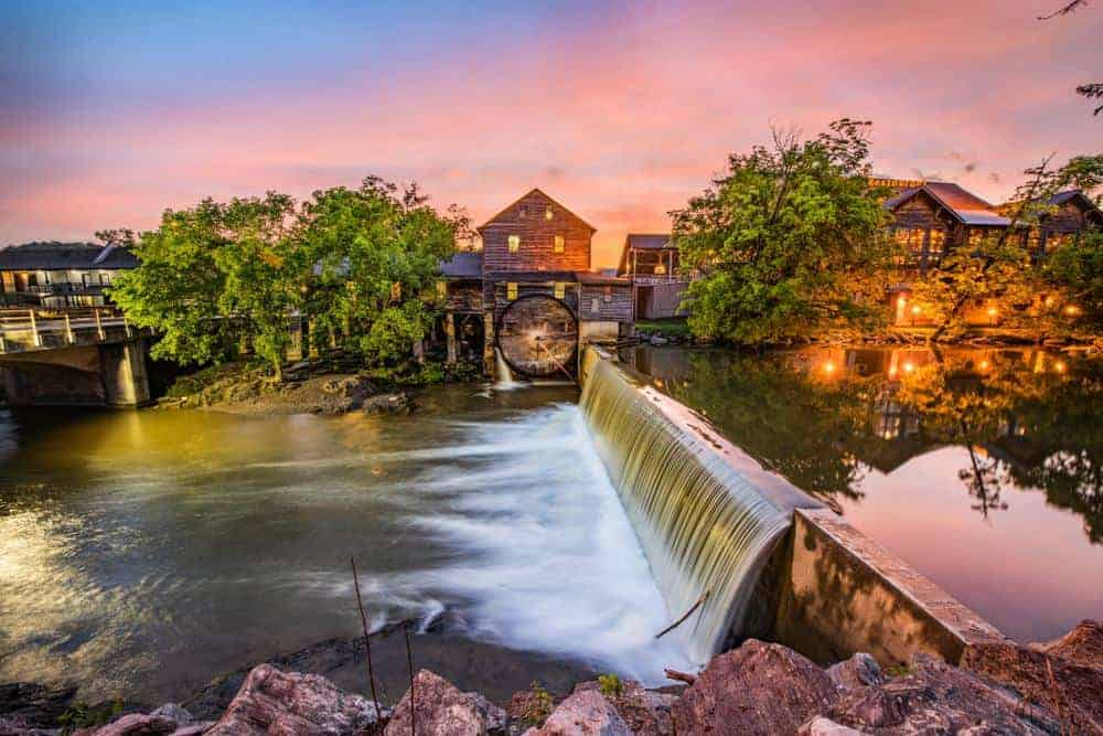 old mill in pigeon forge at sunrise
