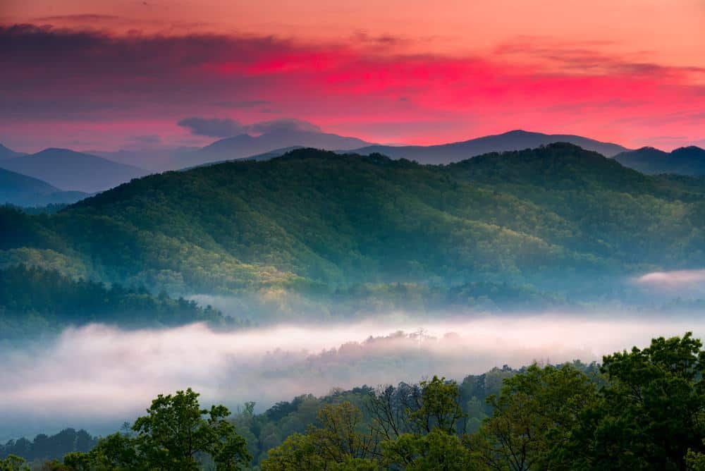 spring sunrise in the smoky mountains