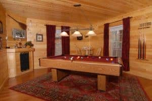 pool table inside gatlinburg cabin