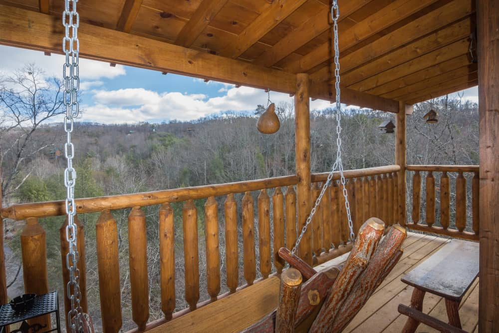 Upper deck with porch swing