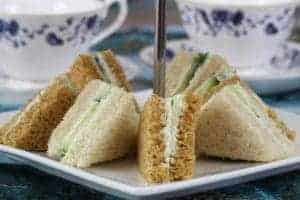 sandwiches with tea cups