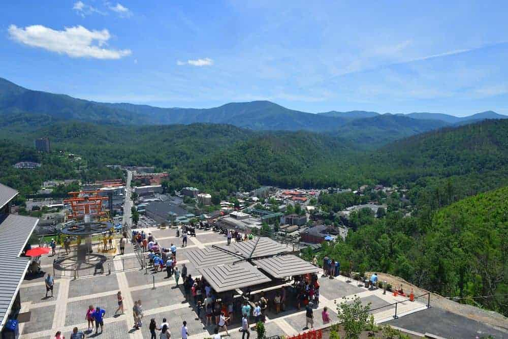 Gatlinburg SkyLift Park with mountains in the background