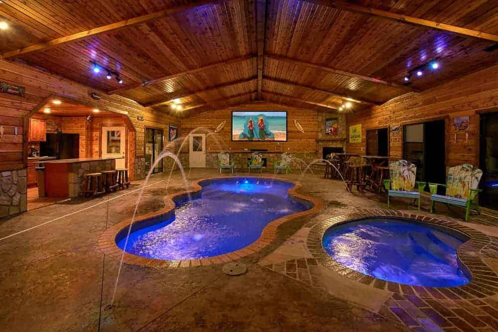 cabin in Gatlinburg with an indoor pool