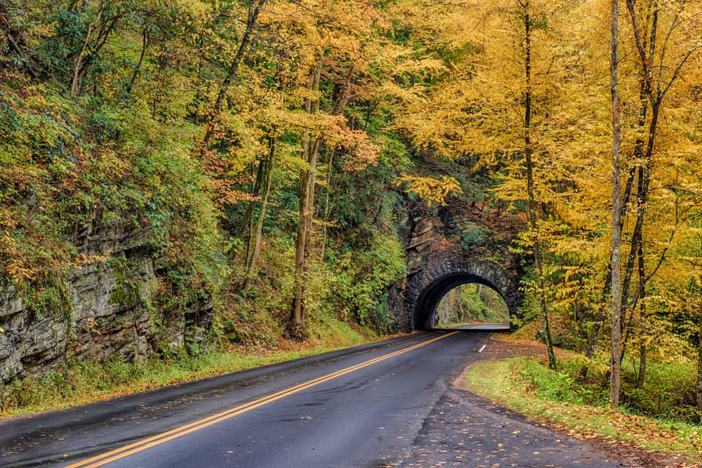 tunnel in the Smoky Mountains in the fall