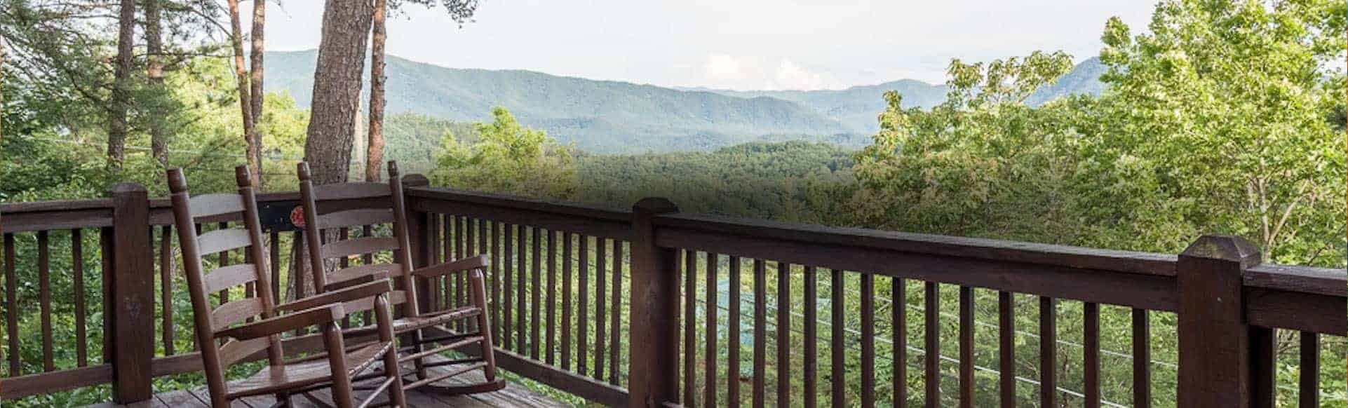 deck of cabin with mountain view