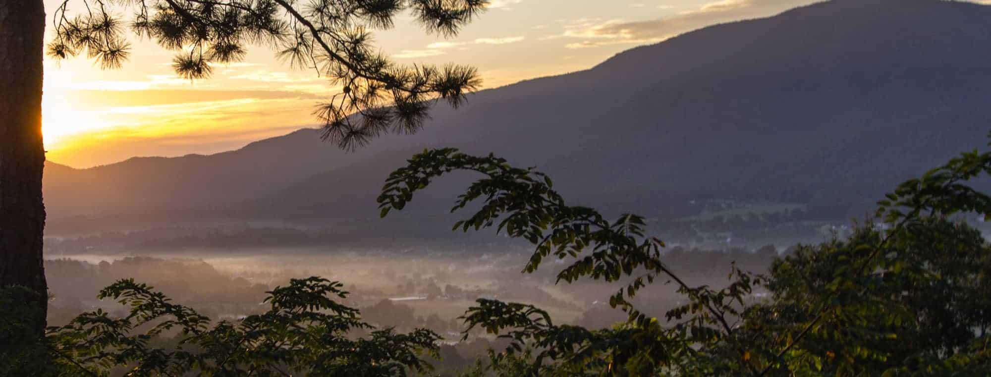 smoky mountains sunrise foggy