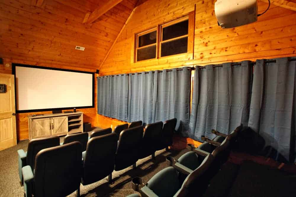 home theater in a pigeon forge cabin