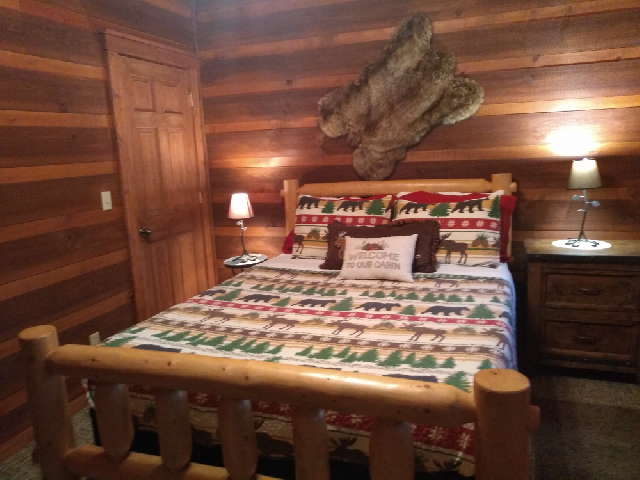 Guest bedroom with Queen size log bed